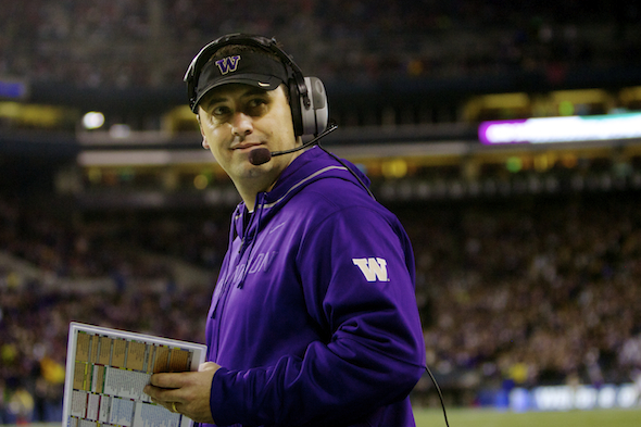A source has told ESPN that Washington's Steve Sarkisian interviewed for the USC job over the weekend. Sarkisian is 34-29 in five seasons at Washington. / Drew Sellers, Sportspress Northwest