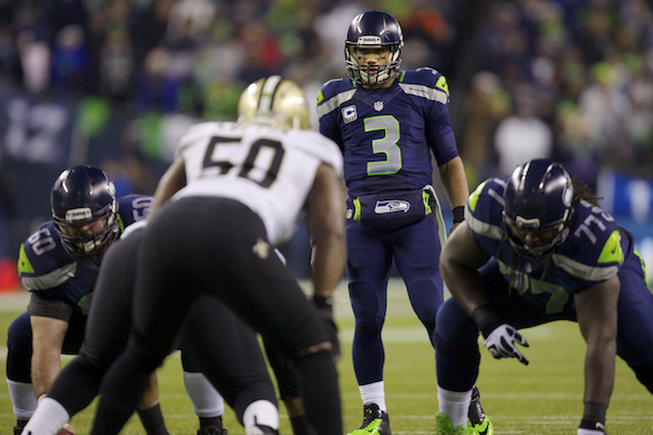 Russell Wilson produced his third consecutive Total QBR 90.0 against the Saints Monday night at CenturyLink Field in Seattle's 34-7 victory. / Drew Sellers, Sportspress Northwest