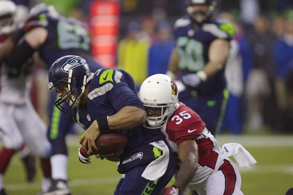 Whether it was blitzes or in coverage, the Arizona defensive backs, including backup Javier Arenas, bottled up the Seahawks offense. / Drew Sellers, Sportspress Northwest