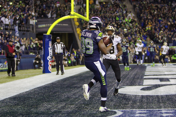 Doug Baldwin had no defender near when he hauled in this second quarter touchdown pass. / Drew Sellers, Sportspress Northwest