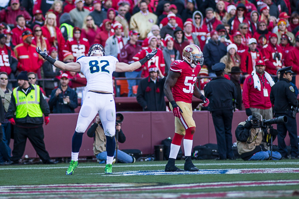 With three catches for 70 yards, including a 39-yard TD, TE Luke Willson had his best game as a Seahawk. / Drew McKenzie