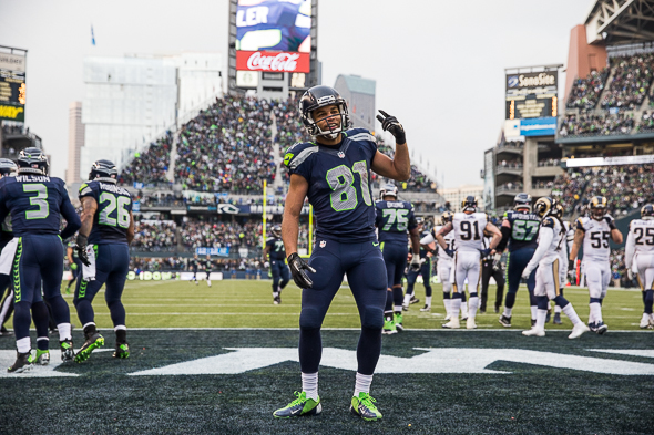In 2013, Golden Tate led Seahawks receivers in every major statistical category, finishing with 64 catches, 898 receiving yards and five touchdowns. / Drew McKenzie