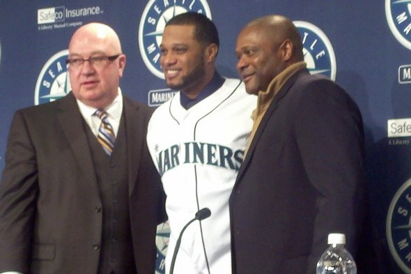 Jack Zduriencik, Robinson Cano and Lloyd McClendon posed for the cameras after Cano signed for $240 million in December. / Art Thiel, Sportspress Northwest