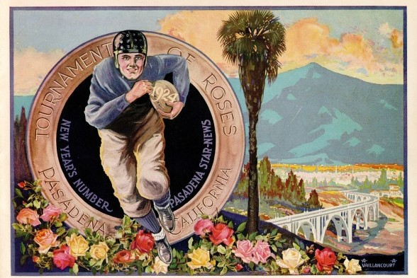 "This is a Tournament of Roses postcard touting the 1924 Rose Bowl game between Washington and Navy. Note the year, ""1924,"" imprinted on the football. / David Eskenazi Collection"
