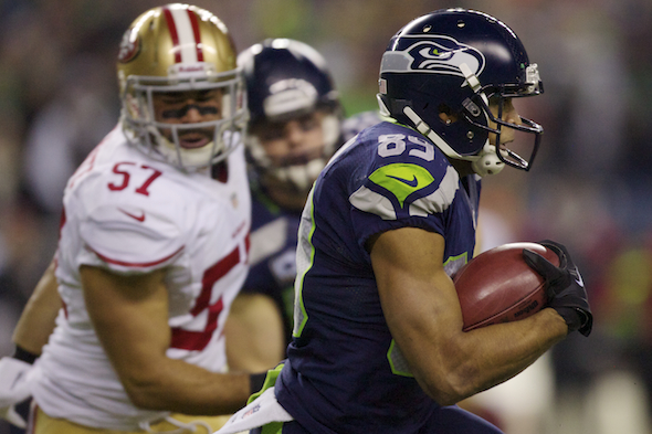 Doug Baldwin (89) caught a pass for 51 yards and returned a kickoff 69 yards in Seattle's 23-17 NFC Championship game victory over the San Francisco 49ers Sunday. / Drew Sellers, Sportspress Northwest