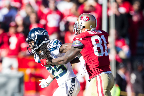 Seattle's No-1.-ranked pass defense could have its hands full with Anquan Boldin and Michael Crabtree. / Drew McKenzie