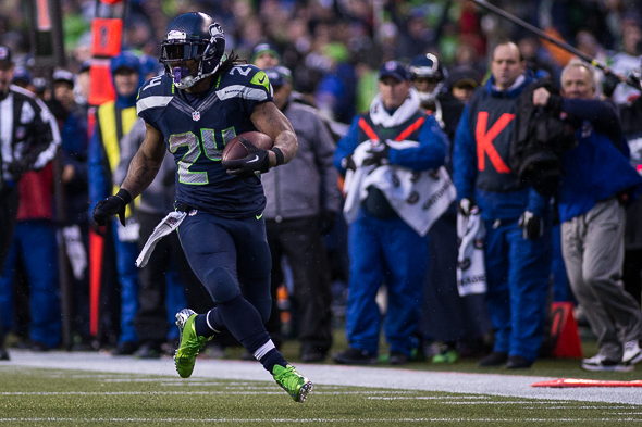Marshawn Lynch has twice rushed for a touchdown and caught a TD pass in his career in the same game, both times against San Francisco. / Drew McKenzie, Sportspress Northwest