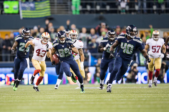 Baldwin was at his best in the biggest game of his NFL career, finished with six catches for 106 yards, including a 51-yard grab that sparked Seattle's offense in the first half. / Drew McKenzie, Sportspress Northwest
