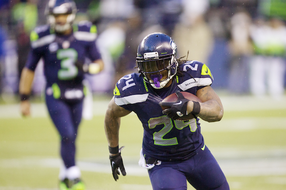 The French Quarter Nightmare, Marshawn Lynch, ran for 140 yards in 28 carries. / Drew Sellers, Sportspress Northwest