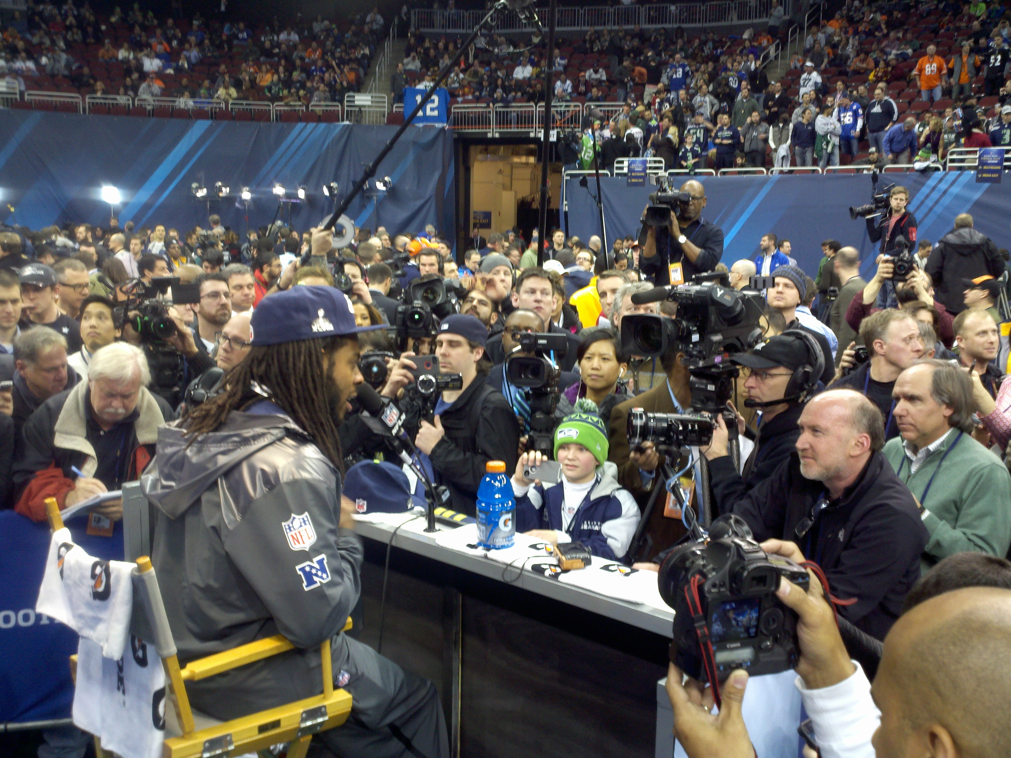 Richard Sherman was the most popular dude in Newark Tuesday afternoon. / Art Thiel, Sportspress Northwest
