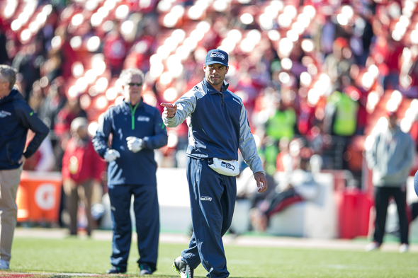 Russell Wilson tries to think of everything ahead of time, then let his practice habits take over. / Drew McKenzie, Sportspress Northwest