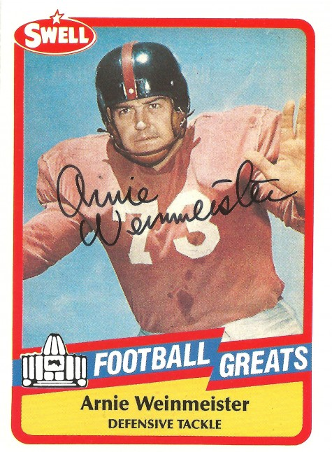 This is Arnie Weinmeister's autographed Swell football card. The Swell cards featured Pro Football Hall of Fame players. / David Eskenazi Collection