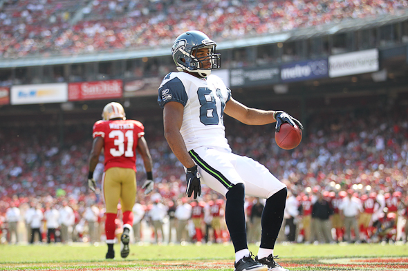 Golden Tate is defensive about claims made about the Seahawks passing offense. / Drew McKenzie, Sportspress Northwest