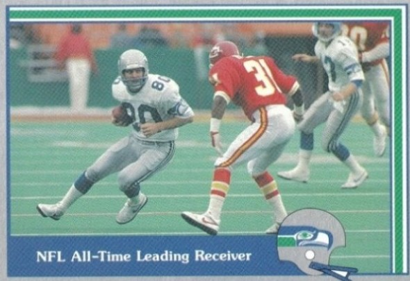 Steve Largent made seven Pro Bowls during his Seattle career and entered the Pro Football Hall of Fame in 1995 in his first year of eligibility. / David Eskenazi Collection