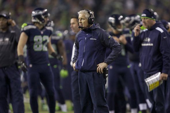 Seahawks coach Pete Carroll admitted Friday that he has never been to to the Super Bowl as either a fan or a coach. / Drew Sellers, Sportspress Northwest