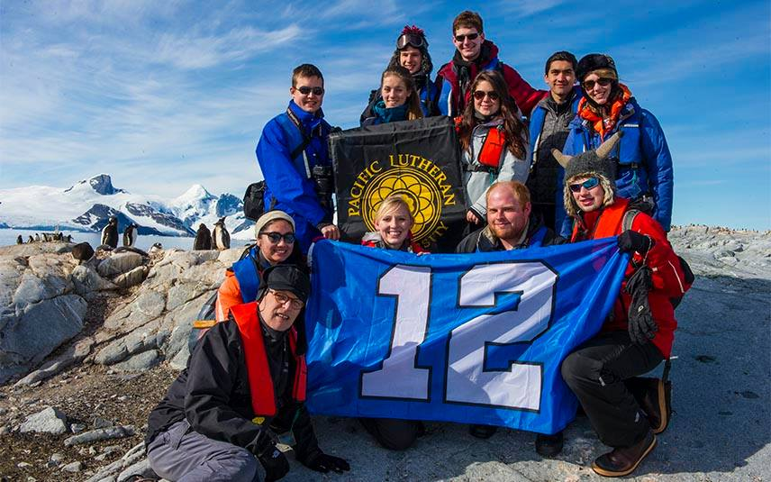 Pacific Lutheran University students in Antarctica. / PLU