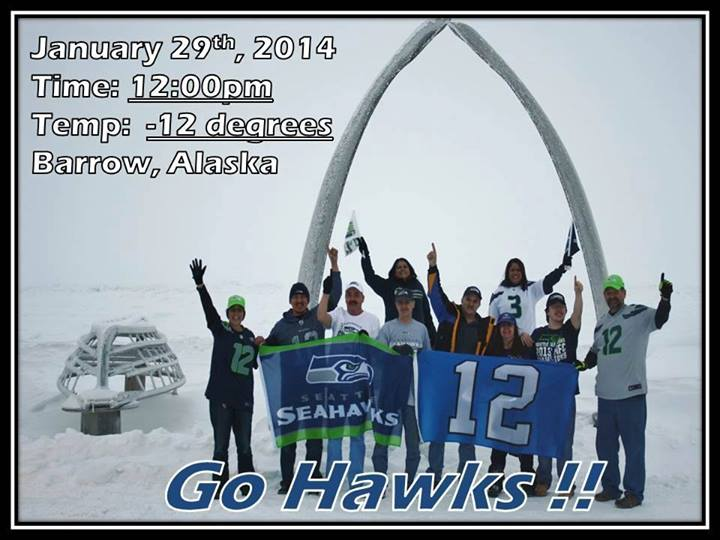 The 12th Man in Barrow, Alaska, at the edge of the Arctic Ocean.