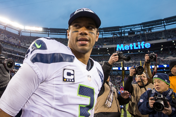 Russell Wilson became one of the youngest quarterbacks to win a Super Bowl. Does that mean he can hit a curveball? / Drew McKenzie, Sportspress Northwest