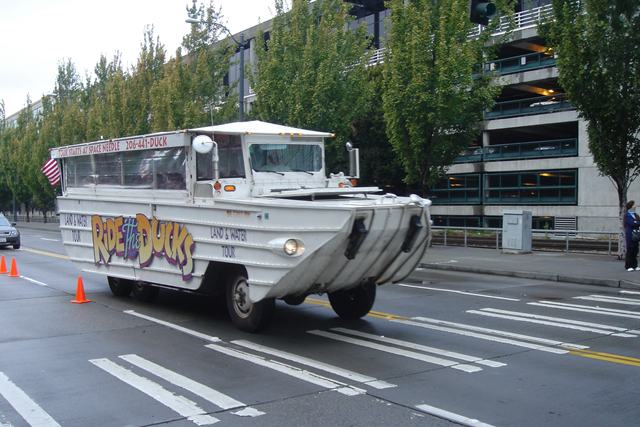 The summer-time tourist vehicle Ride the Ducks will bear Seahawks Wednesday. / Wiki Commons