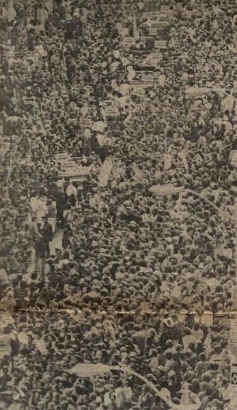 An aerial view of the Sonics' victory parade in 1979 shows some of the 300,000 people who attended. The photo appeared in the Seattle Post-Intelligencer June 5, 1979.