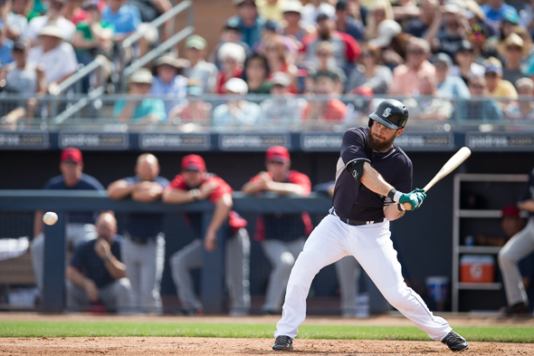 Dustin Ackley has enjoyed a strong spring training, .xxx with x home runs and x RBIs. / Drew Sellers, Sportspress Northwest