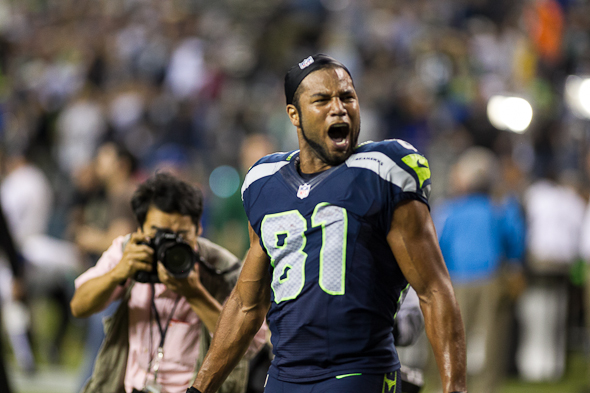 Golden Tate insisted he wanted to remain in Seattle, but jumped at Detroit's offer of $31 million over five years. / Drew McKenzie, Sportspress Northwest