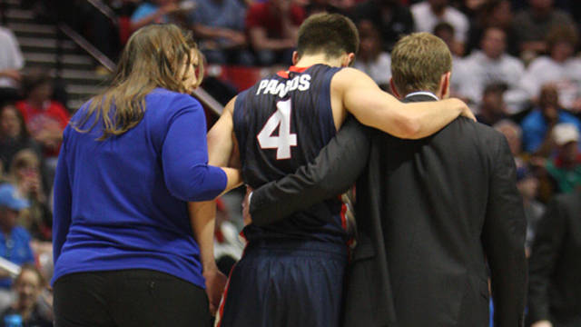 Kevin Pangos is helped from the court by coach Mark Few. / Gonzaga University