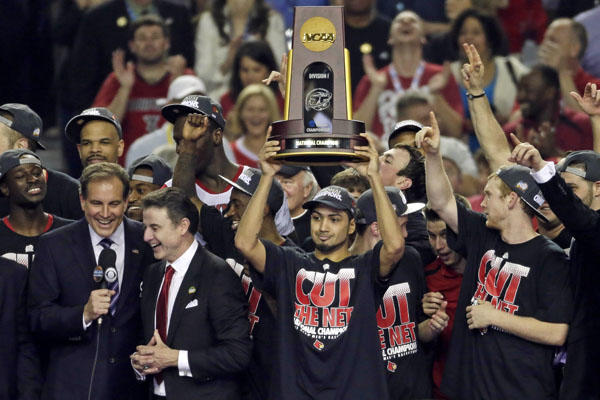 Louisville, with Peyton Siva of Seattle's Franklin High School holding the trophy,  won the 2013 NCAA national title. This year -- Cal Poly?! / Wiki Commons