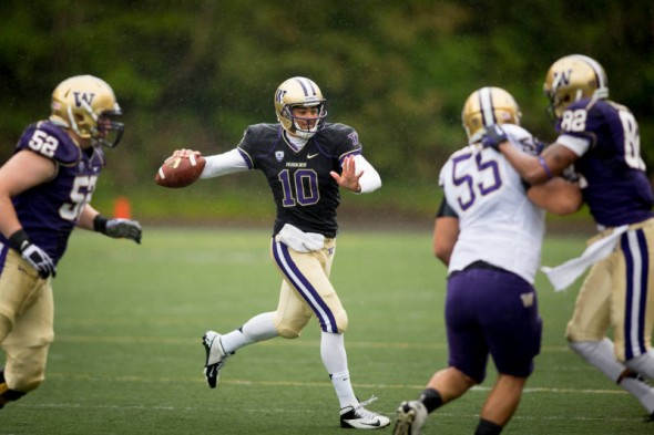 Suspended indefinitely in February, Washington QB Cyler Miles' status with the team hasn't changed. / Gohuskies.com