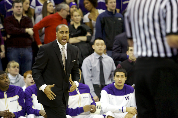 Lorenzo Romar is a little edgy these days partly because his team lacks an edge. / Drew Sellers, Sportspress Northwest file