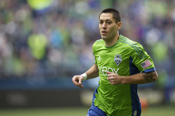 Forward Clint Dempsey notched a hat trick in Saturday's wild, 4-4 draw with Portland and earned MLS Player of the Week honors as a result. / Drew Sellers, Sportspress Northwest