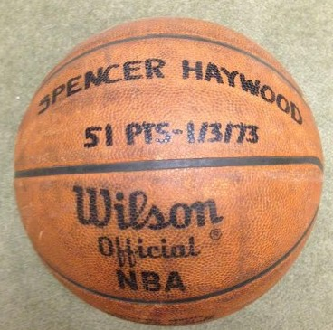 This is a game ball from Haywood's 51-point night on Jan. 3, 1973. / David Eskenazi Collection