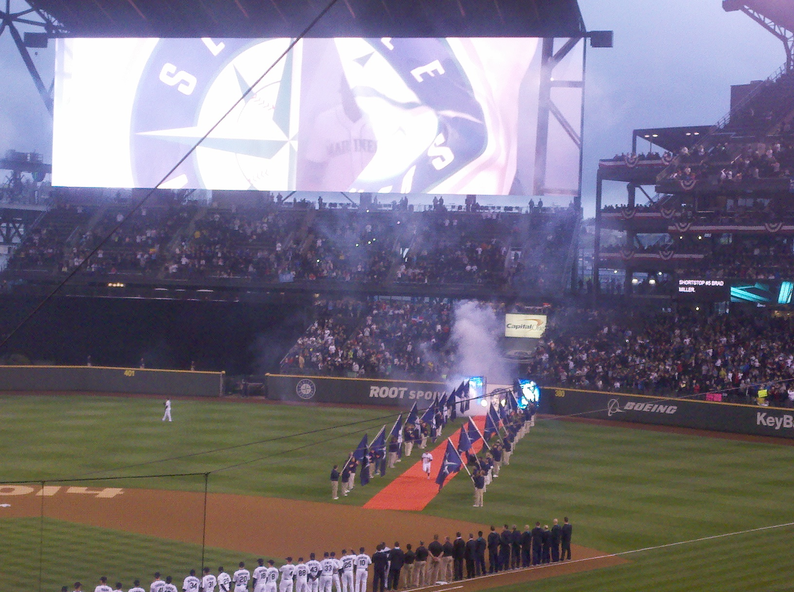 Rookie Abraham Almonte led the starting lineup onto the field for the Mariners' home opener. / Art Thiel, Sportspress Northwest