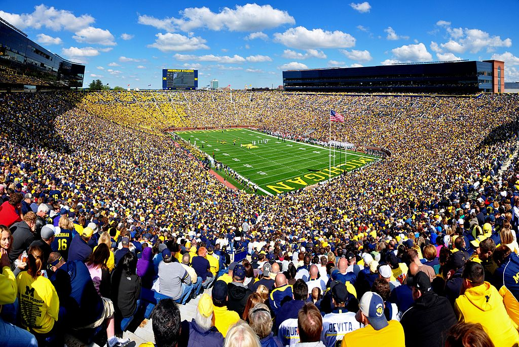 When the NCAA can fill stadiums like Michigan's with 112,000 people, the argument about the impossibility of properly compensating athletes rings just a tad hollow. / Wiki Commons