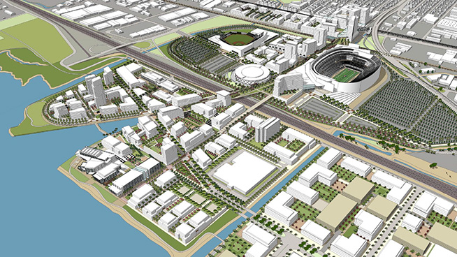 A plan called Coliseum City was disclosed Thursday that featured new stadiums for the A's and Raiders in downtown Oakland. / City of Oakland