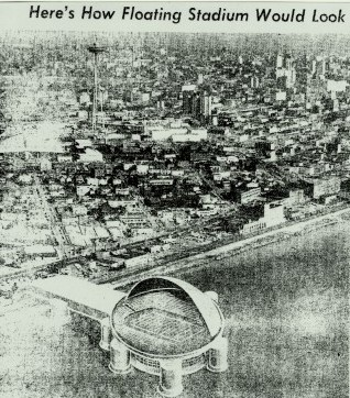 This is a grainy newspaper photograph depicting the proposed floating stadium, offering a different view. / David Eskenazi Collection