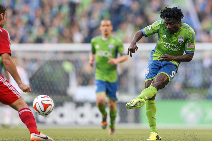 Obafemi Martins assisted on both goals in the Sounders' 2-1 win over Dallas Wednesday night at the Clink. / Drew McKenzie, Sportspress Northwest
