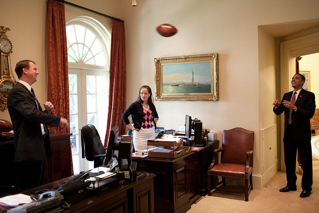 President Obama always finds time for sports, in this case, his secretary's office. / The White House