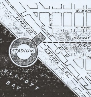 The floating stadium would have been located at the end of West Harrison Street and would have seated 65-70,000 for football and 50,000 for baseball. This is a close-up drawing of the area. / David Eskenazi Collection