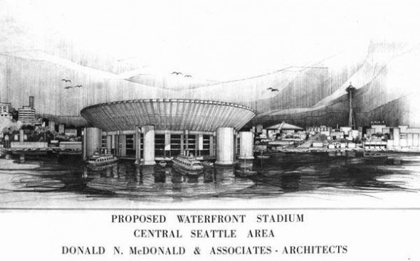 This is an artist's conception of the floating stadium proposed to be located on Elliott Bay, just off the foot of West Harrison Street in Seattle. / David Eskenazi Collection