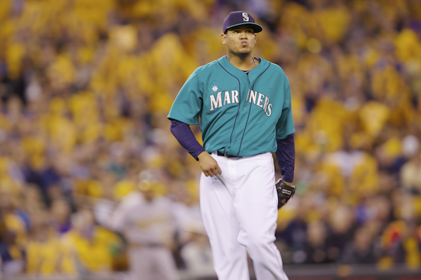 Despite having no K-card support in Tampa, Felix Hernandez struck out a career-high 15. / Drew Selllers, Sportspress Northwest file
