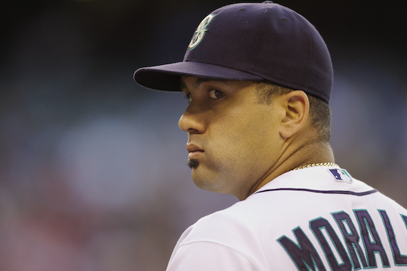 Kendrys Morales didn't make out so well in his bid to stay away from the Mariners.  / Drew Sellers, Sportspress Northwest
