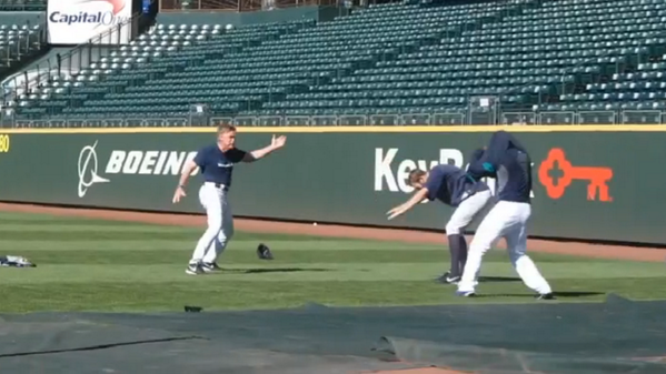 Tim Wilhelmsen, right, and coach Rick Waits: Dancin' fools.