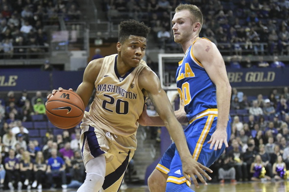 Markelle Fultz and the Washington Huskies came close, but couldn't down No. 5 Arizona at home Saturday. / Alan Chitlik, Sportspress Northwest