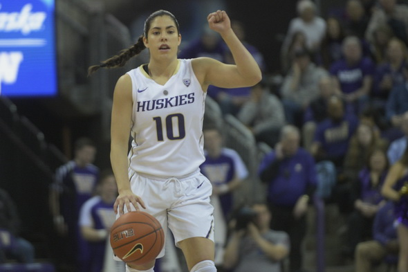 After scoring 25 against Colorado Thursday, Kelsey Plum brought the heavy ordnance against Utah Saturday. / Alan Chitlik, Sportspress Northwest