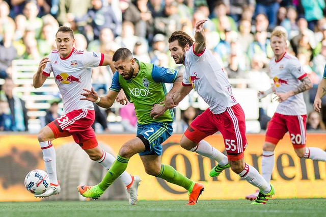 Clint Dempsey turned in another full 90 as well as a score Sunday. / Jane Gershovich, Seattle Sounders FC