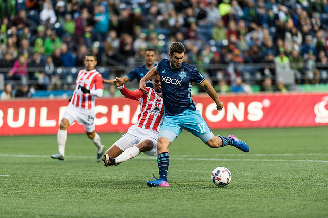 Will Bruin scored his second goal of the season, but Seattle fell 2-1 on the road to Vancouver Friday. / Jane Gershovich, Seattle Sounders FC
