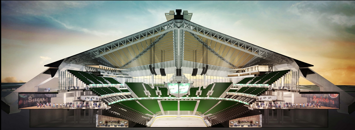 The east-west cross-section of Oak View Group's proposed remake of KeyArena, including a floor 15 feet deeper that the current one. / Oak View Group