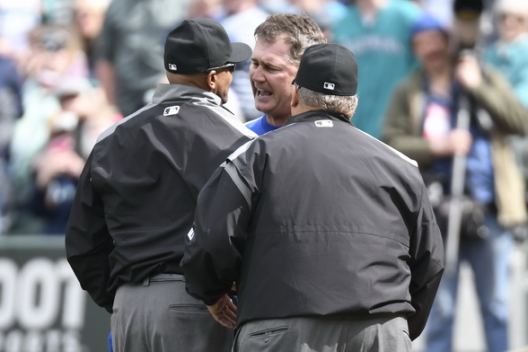 Scott Servais was furious with umpire C.B. Bucknor, and was ejected. / Alan Chitlik, Sportspress Northwest