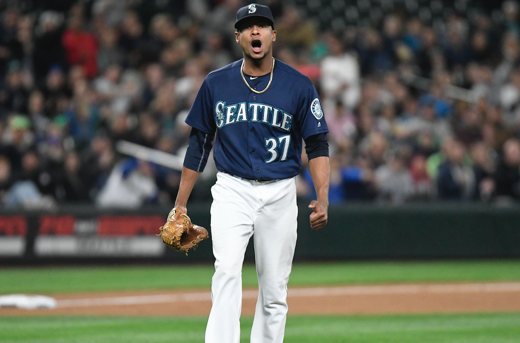 Ariel Miranda is happy to learn is, momentarily, nearly the ace of the Mariners staff. / Alan Chitlik, Sportspress Northwest